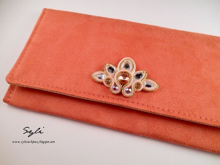 "Kopertówka sutasz/ Soutache clutch bag ""Peach"""