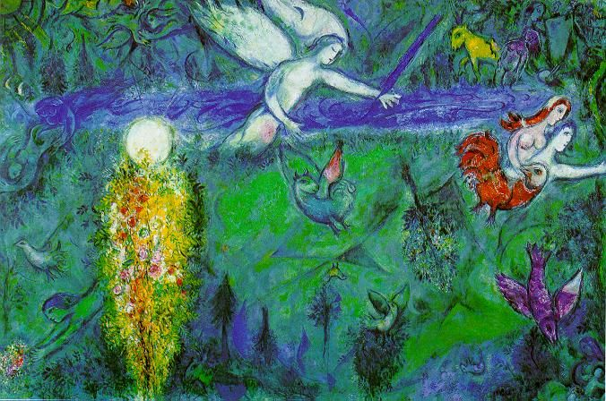 "Marc Chagall: ""Adam and Eve expelled from Paradise"", 1961. (Musée national Message Biblique Marc Chagall, Nice, France.) http://en.musees-nationaux-alpesmaritimes.fr/"