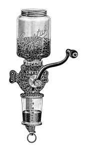 arcade crystal coffee mill, vintage coffee grinder image, black and white coffee clip art, antique magazine advertisement, old…