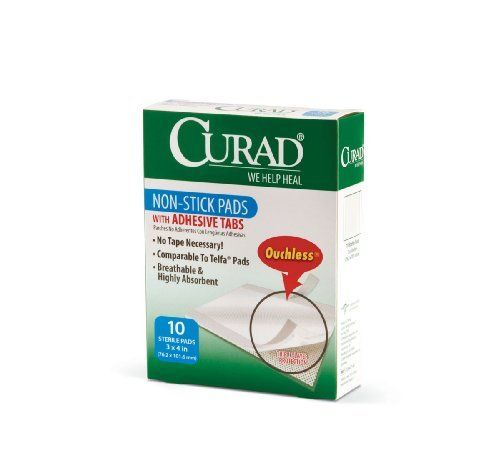 "Curad Non-Stick Pads, 10 ct by Curad. Save 54 Off!. $2.39. Packaging 1 CS 12 BX/CS,12 EA/CS,1 DZ/CS. PAD,NON-STICK,CURAD,W/ADHES,3"" X 4"",STRL. Orders are Processed immediately 24/7 to ensure fast delivery. Medline CUR47148. Curad Ouchless Non-Stick Pad: Curad Ouchless Non-Stick Pads Are Wound Covers For Post Surgical Wounds, Light Bleeding, Large Surface Cuts, Scrapes, And Burns. Our Non-Stick Pads Are Made Of A Soft, Perforated Mylar Film Bonded To A 100% Cotton Pad That I. CURAD…"