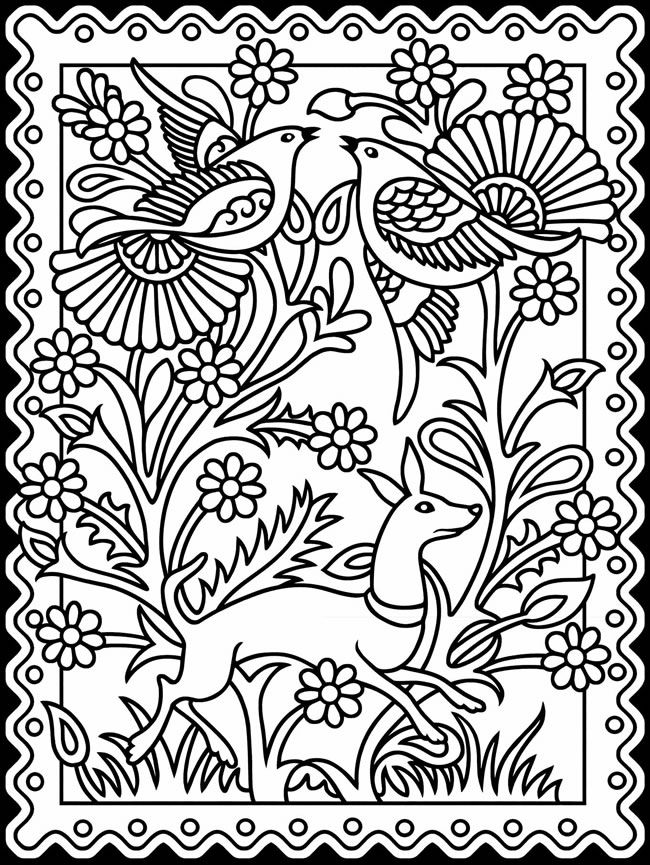 bienvenido a dover publications mexican designs stained glass coloring page