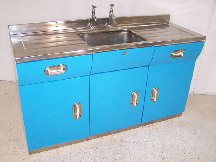 Vintage 40s Metal Alloy English Rose Kitchen Sink Unit In Blue