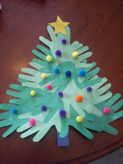 Lavoretti Natale per la scuola dell'infanzia albero con palline