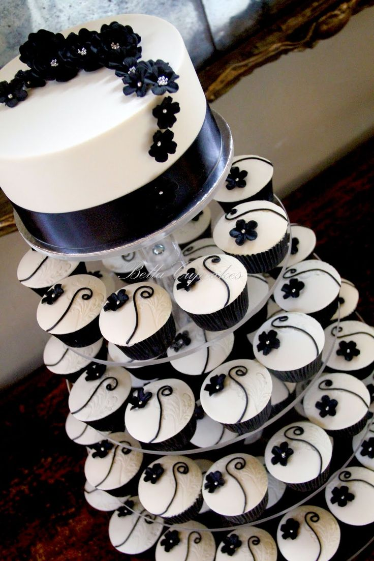 Uncategorized cupcake stands for weddings cheap - The Couple Wanted Quite A Simple Cupcake Tower Colours Are Black And Ivory And The Design Of Cupcake Was Similar To The Black And White Cupcake Tower I