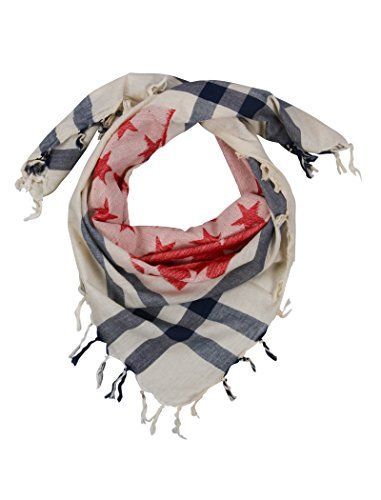 Red & Blue Star Desert Scarf for Women and Men - Cotton square fashion scarves. Made from 100% cotton, these scarves are perfect for any season. Works well for both Men and Women. Size: 100 Cms X 100 Cms. These scarves are made using jacquard woven design and are not printed like other cheap scarves available elsewhere.