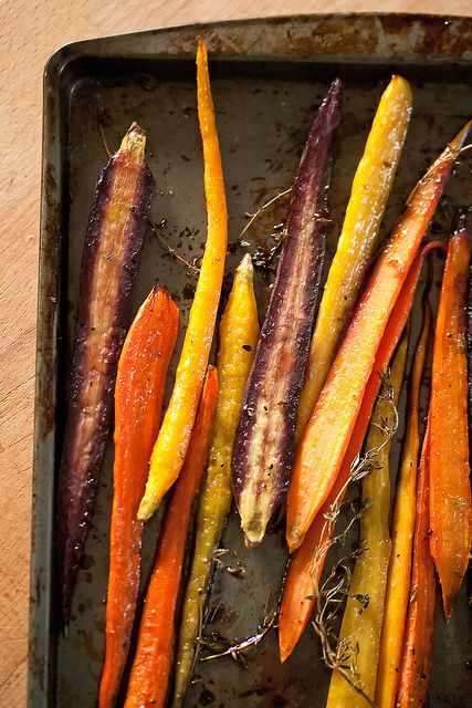 Honey-Balsamic Roasted Carrots. Great side dish to a healthy roast chicken or turkey dinner.