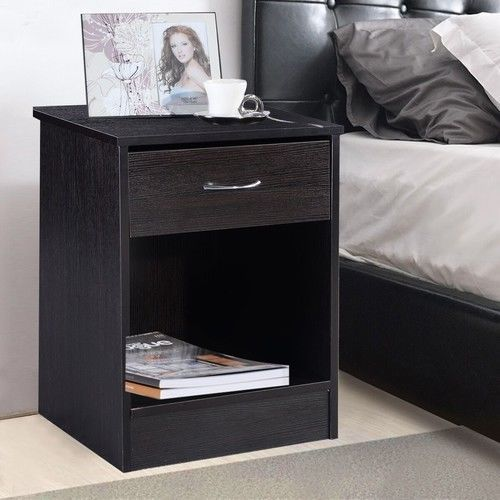Nightstand End Table Bedroom Furniture Drawer Sturdy Storage Bedside NEW Black…