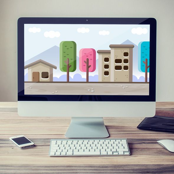 Little colorful village game background for game developers