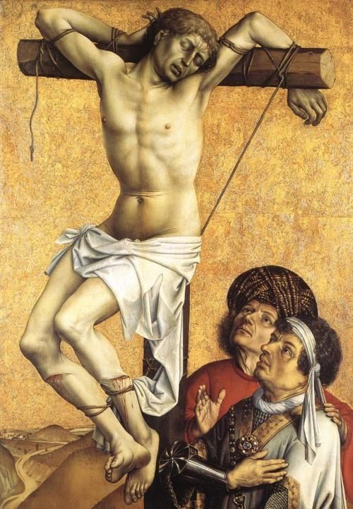 This is a image showing Mary looking up at Jesus ( her son ) as he was being crucified on the cross #lategothicimage .