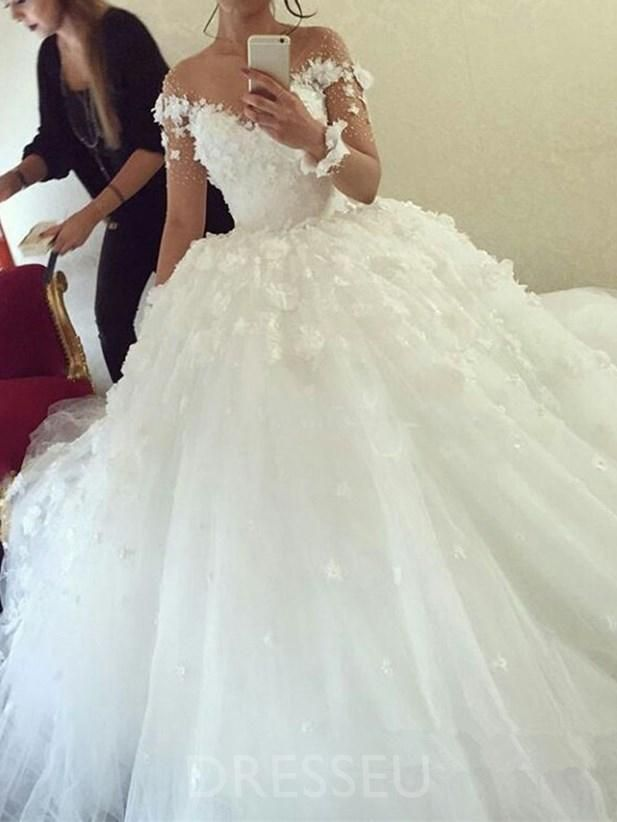 aa22441562a0 Long Sleeves Ball Gown Floor-Length Button Hall Wedding Dress in ...