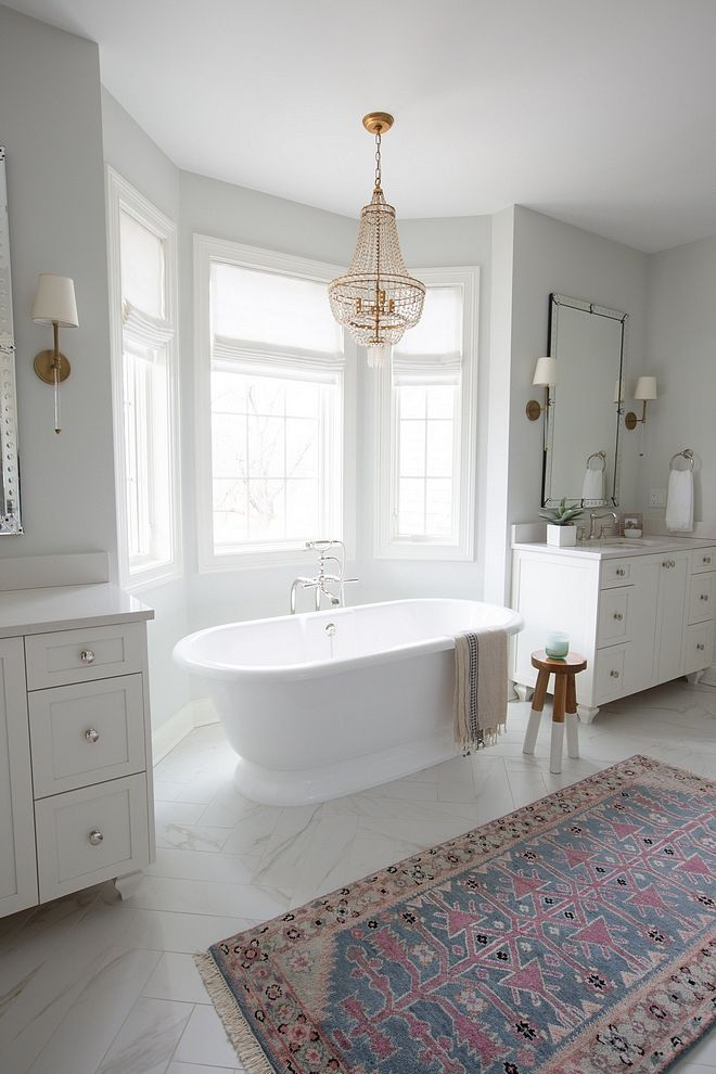 Freestanding Bath Between Vanities Master Bathroom Layout Freestanding Bath Between Vanities Frees Bathroom Remodel Master Bathroom Inspiration Master Bathroom