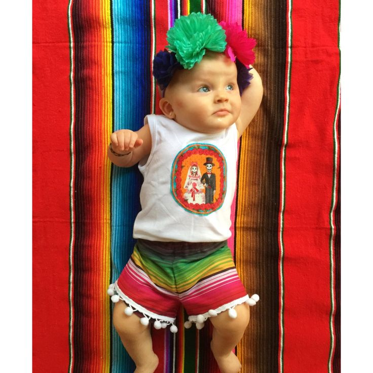 Frida inspired day of the dead outfit from Sweet Texas Treasures and Spunky Minis Flower Crown Dia de los Muertos Serape Cinco de Mayo baby Fashion