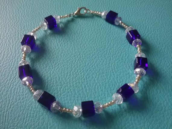 Hey, I found this really awesome Etsy listing at https://www.etsy.com/au/listing/264446952/blue-swarvoski-bracelet