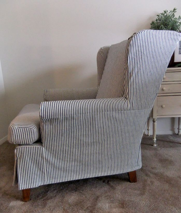Casual Ticking Slipcover For A Comfy Wingback Chair. Slipcovermaker.com