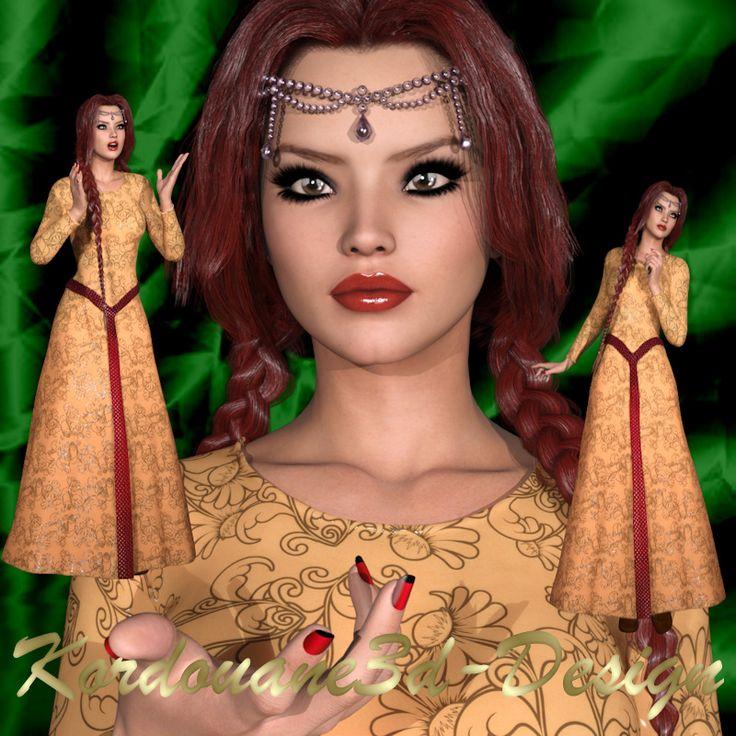 Melvyna : 3 tubes de femme médiévale (image-png)