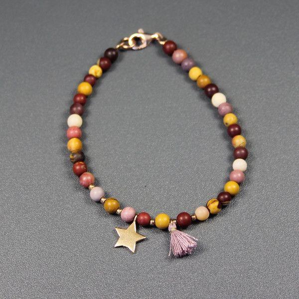 Jaspis - ♥Armband - Stern, 925 Silber roseveg., Mookait - ein Designerstück von glashuepfer bei DaWanda
