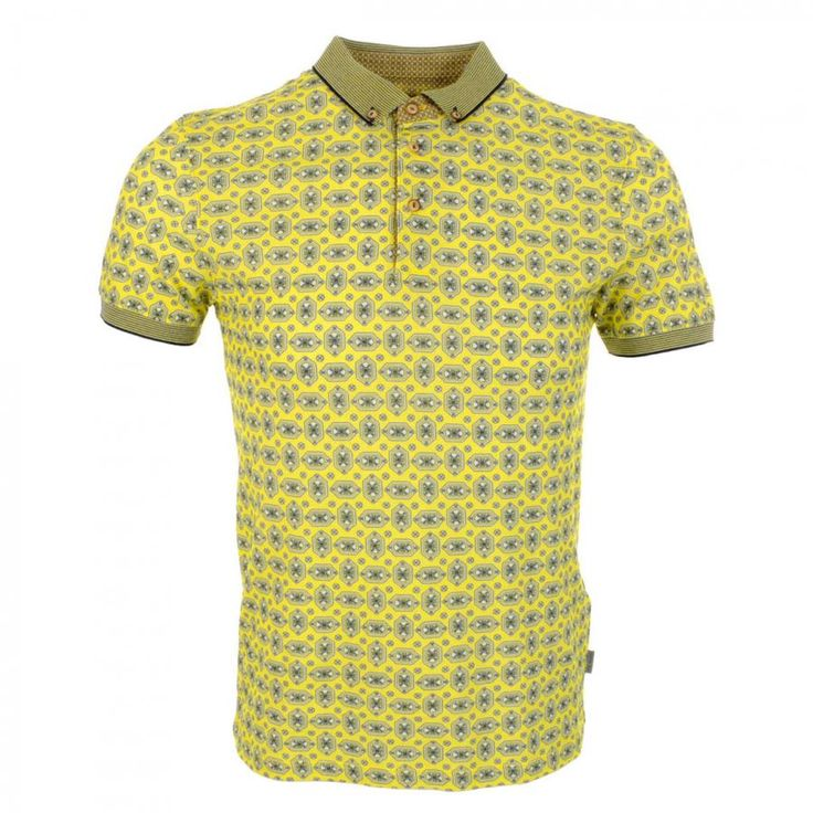 Ted Baker Herows Printed Polo T Shirt Yellow