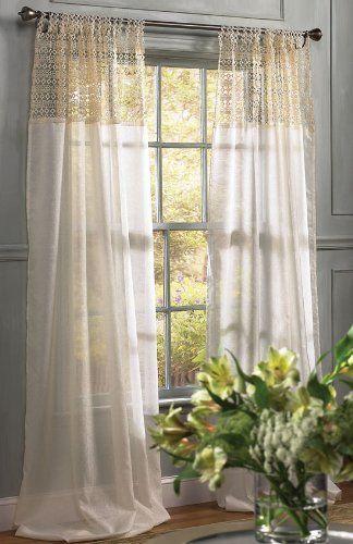 Manor Luxe 48 Inch By 84 Inch Juliette Crochet Tab Top Sheer Window Panel