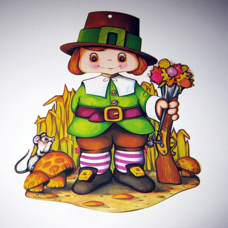 Vintage 1970s Cute Pilgrim Die Cut Cardboard by grandmothersattic