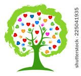 Tree hands and hearts people icon vector design