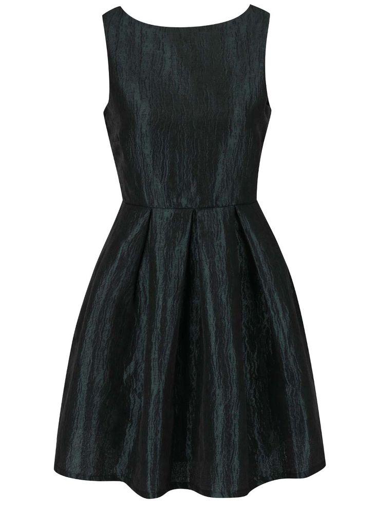 Černozelené lesklé šaty VILA Ewa