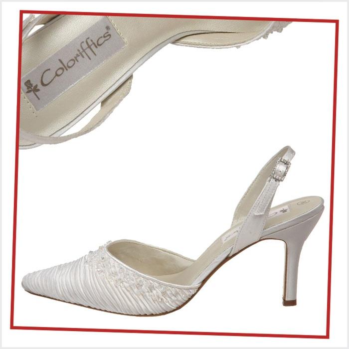 Coloriffics Slingback Low Heel Ivory Bridesmaid Shoes