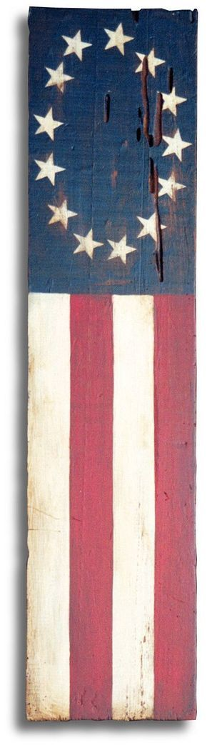 Old American flag painting inspired by The Betsy Ross flag. Acrylic painted on reclaimed barn wood. U.S. flag, American flag, Antique flag.
