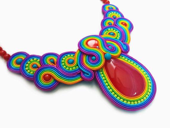 Multicolor Soutache Necklace Rainbow Color by RenaSoutacheArt