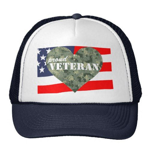 Camouflage Heart Proud Veterans Hat