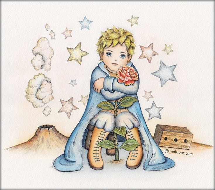 Le Petit Prince and his Rose - 52 Week Illustration Challenge - 04 Ode to favorite children's book. Inktense pencils on watercolor paper.  #illo52weeks