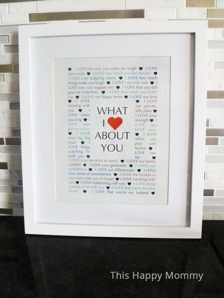 What I {Love} About You -- My husband loved this gift! Looking for a sweet anniversary, birthday, or anytime gift? This is a perfect homemade gift.   thishappymommy.com