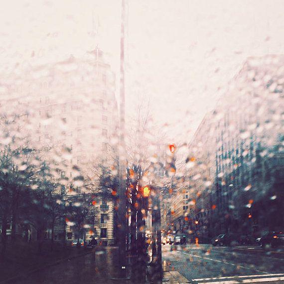 Fotografia, Washington DC, pioggia fotografia, fotografia di viaggio, astratto, surreale, Oggettistica per la casa moderna, urbano, città di viaggio