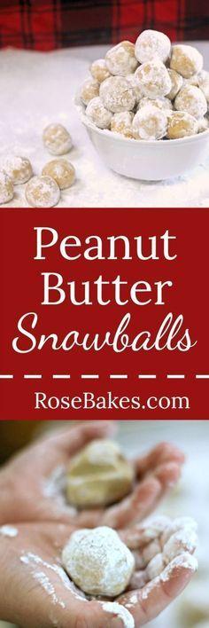 Easy Peanut Butter Snowballs   http://RoseBakes.com These peanut butter balls are easy to make, rolled in powdered sugar and have graham crackers inside for great texture!