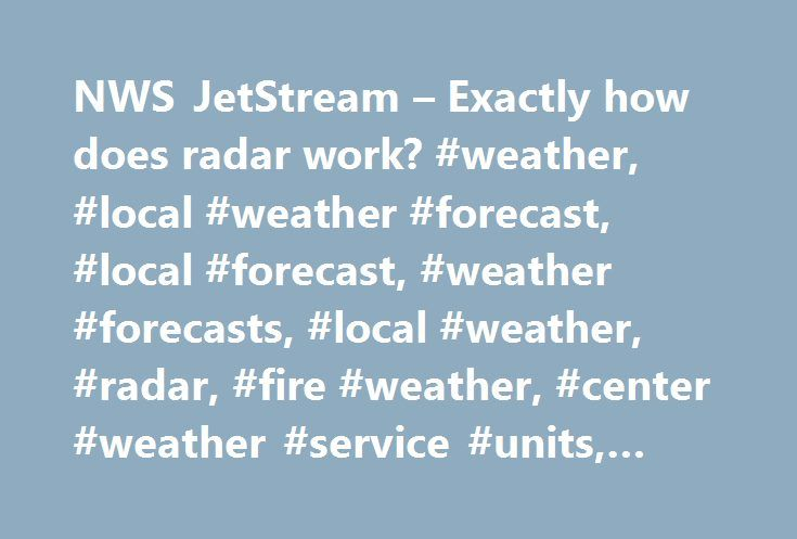 NWS JetStream – Exactly how does radar work? #weather, #local #weather #forecast, #local #forecast, #weather #forecasts, #local #weather, #radar, #fire #weather, #center #weather #service #units, #jetstream http://dallas.remmont.com/nws-jetstream-exactly-how-does-radar-work-weather-local-weather-forecast-local-forecast-weather-forecasts-local-weather-radar-fire-weather-center-weather-service-units-jet/  # As the radar antenna turns, it emits extremely short bursts of radio waves, called…
