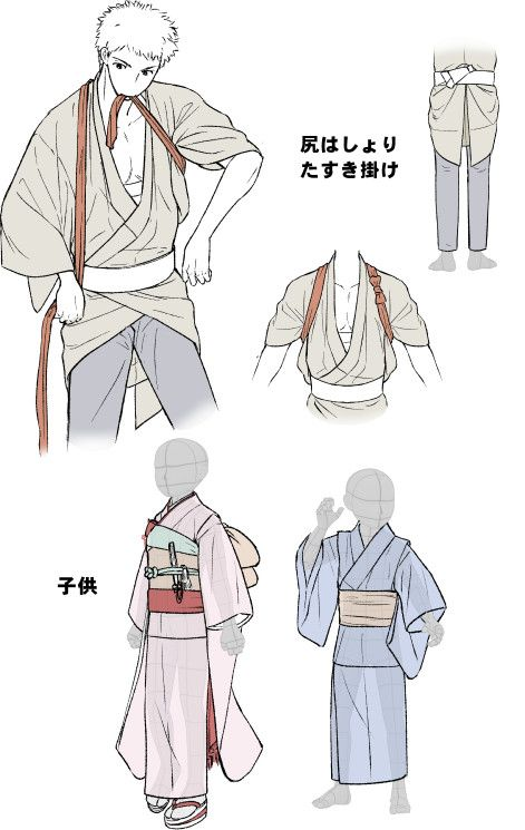 """tanuki-kimono: """" Kimono drawing guide 2/2, by Kaoruko Maya (tumblr, pixiv, site). Booklet is available in pdf for ¥ 900 here. Here you can see : • Women belt knots examples • Men belt knot examples..."""