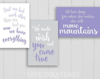5 Sizes Included Lavender Nursery Decor Matching by loveunrationed