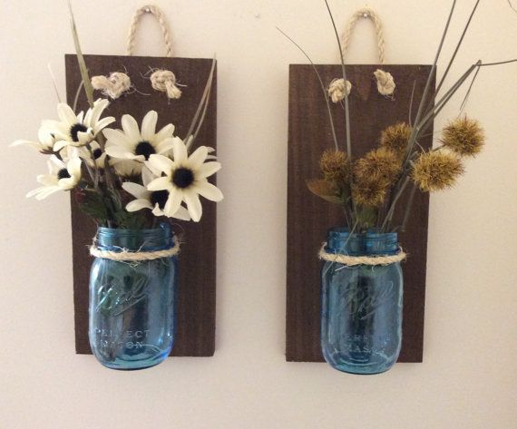 Mason Jar Wall Sconce SET OF TWO Hand by AppalachianArtisans