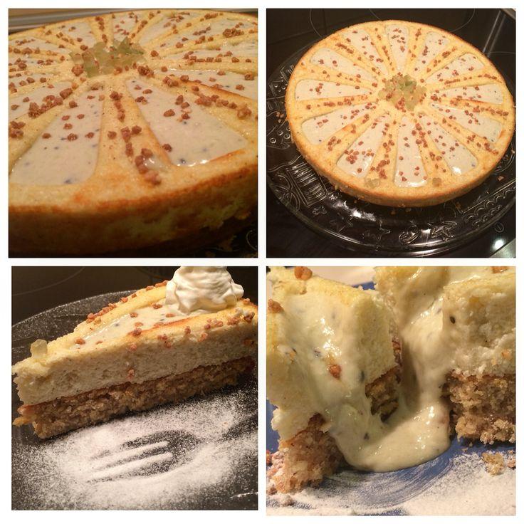 Fitness, healthy cake made in zila mould : with quark , oat base & kiwi banana cream