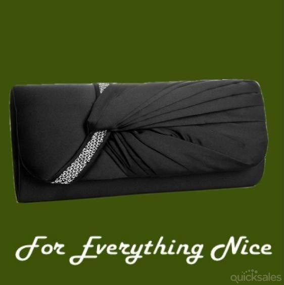 Black Gathered Pleats Satin Sequin Accents Evening Bag Bridal Purse by JRMB7339 - $70.00