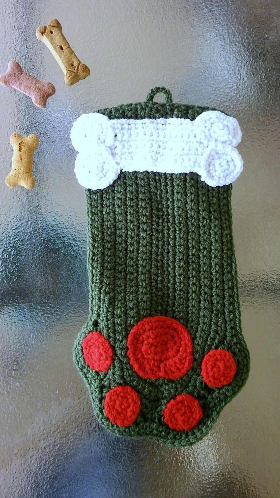 Dog Christmas Stocking  Pet Christmas Stocking  Crochet