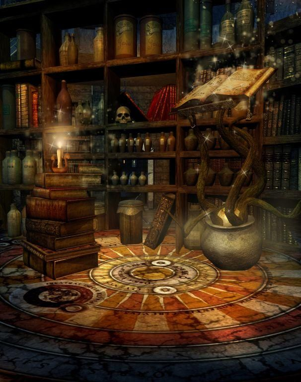 Library Study Room Design: Halloween Magic Library Photo Background Backdrop