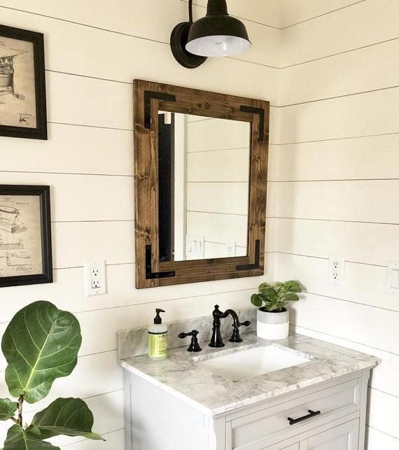 Rustic Mirror Farmhouse Mirror Country Framed Mirror Wood Mirror Bathroom Mirror Wall Mi Mirror Wall Bathroom Farmhouse Mirrors Farmhouse Bathroom Mirrors