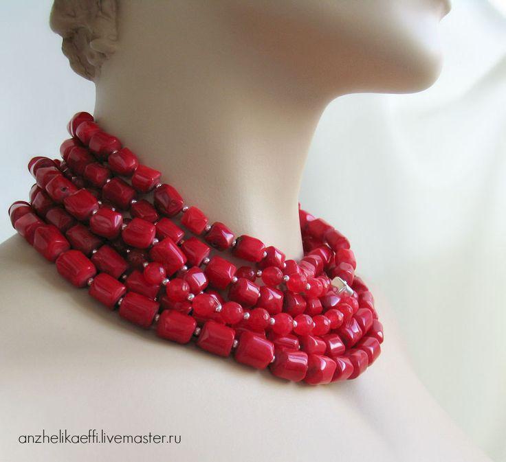 Купить Коралловое КОЛЬЕ красное Серебро 925 проба Натуральный коралл Ожерелье