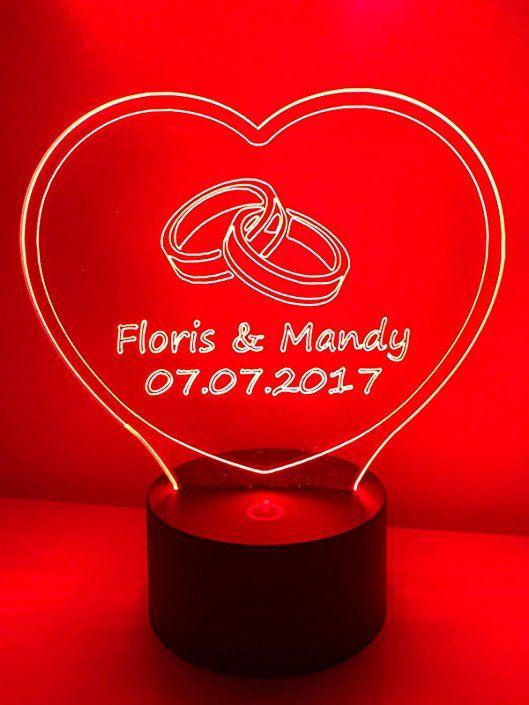 Led Lampe Hochzeitsgeschenk Herz Mit 2 Namen Und Eheringen