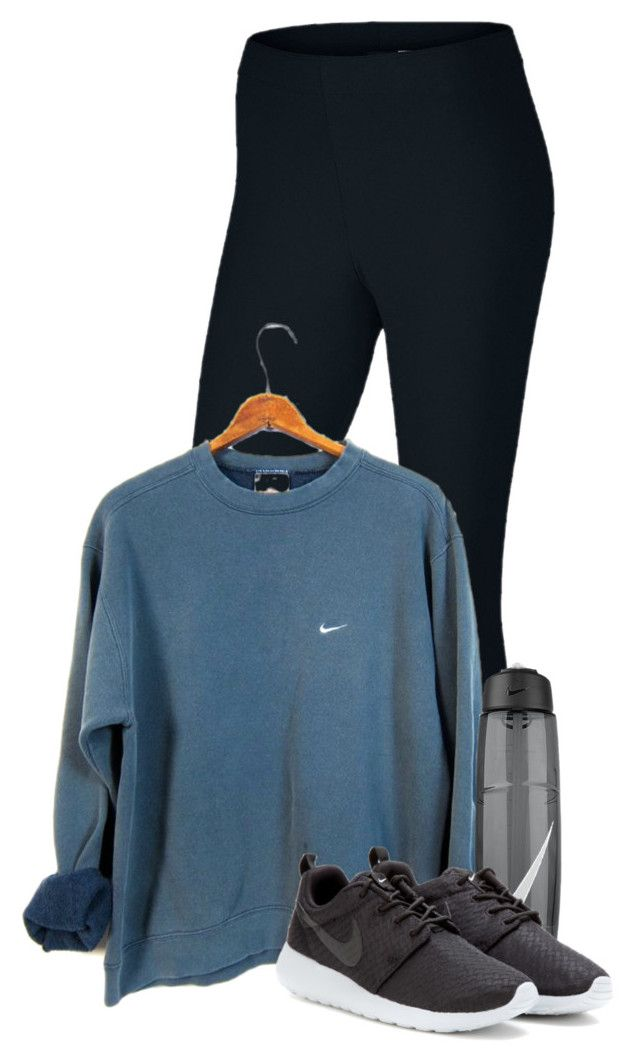 """Game night at church tonight"" by sydneymellark ❤ liked on Polyvore featuring NIKE, women's clothing, women, female, woman, misses, juniors, winterwear and athleticapparell"