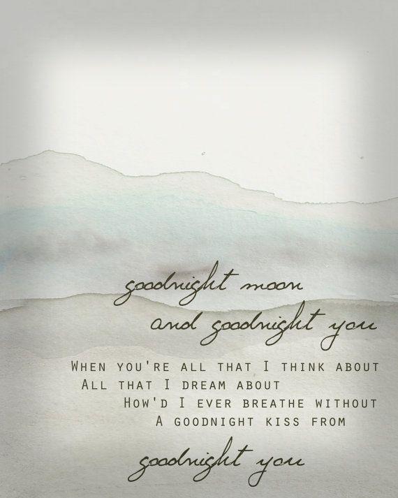 Go Radio Lyrics Watercolor Art Print Goodnight by AwakeYourSoul