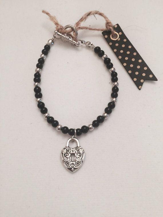 Beaded Charm Bracelet Black Beauty by MJCustomDesignCanada on Etsy