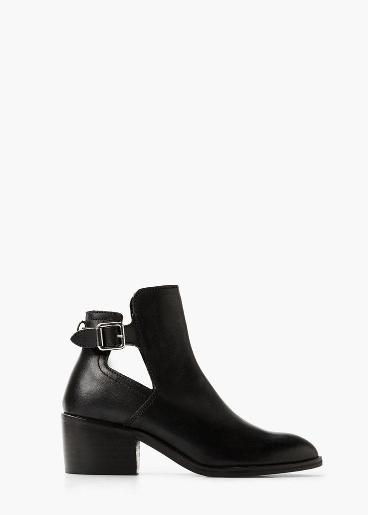 Bottines cuir boucle - Chaussures pour Femme | MANGO