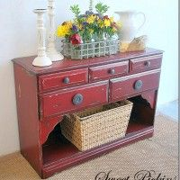Refinished old dresser...: Red Refinishing, Old Dressers, Redone Dressers, Distressed Furniture, Refinishing Furniture, Refinishing Buffet, Red Dressers, Sweet Pickin, Distressed Dressers