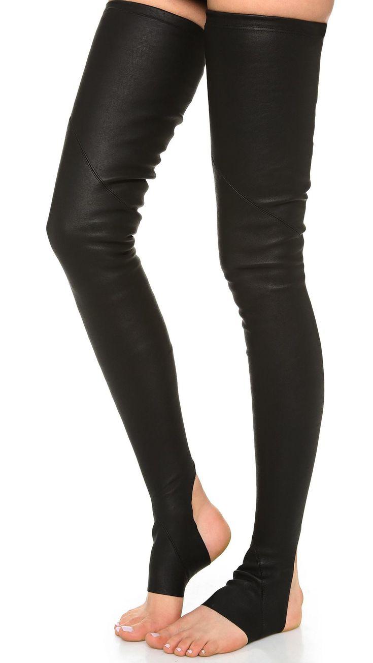 Faux Leather Long Tight Socks Black